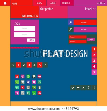 Flat Web Design, elements, buttons, icons. Templates for website.Vector illustrattion - stock vector