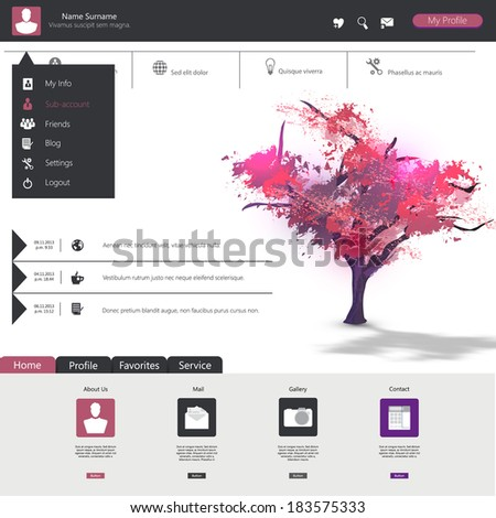 Flat web design elements, buttons, icons. Website template.  - stock vector