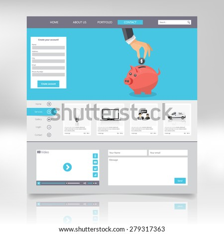 Flat web design elements, buttons, icons. Website template.  Vector - stock vector