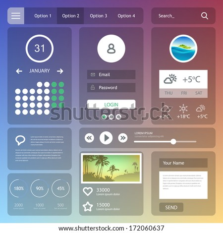 Flat web design elements. Vector set of various elements used for user interface projects. Eps 10 - stock vector
