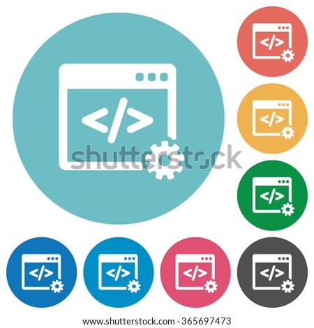 Flat web development icon set on round color background. - stock vector