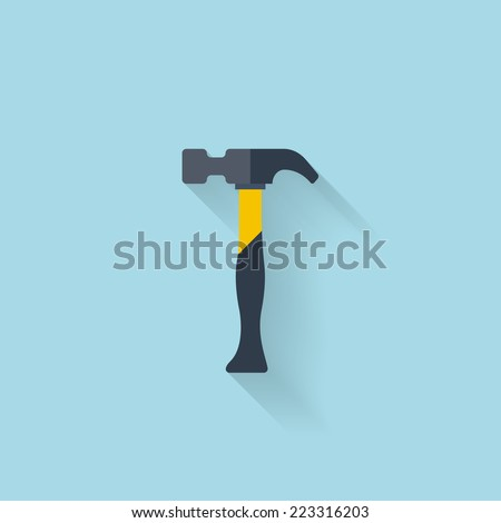 Flat web icon. Hammer - stock vector