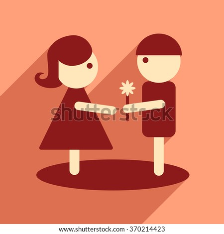 Flat web icon with long shadow man woman flowers - stock vector