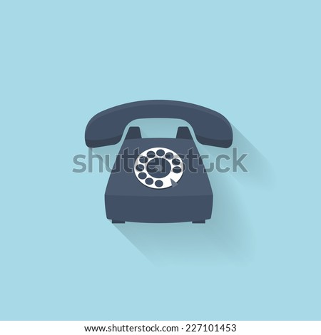 Flat web internet icon. Old vintage retro telephone. - stock vector