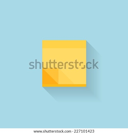 Flat web internet icon. Yellow sticky notes paper. - stock vector