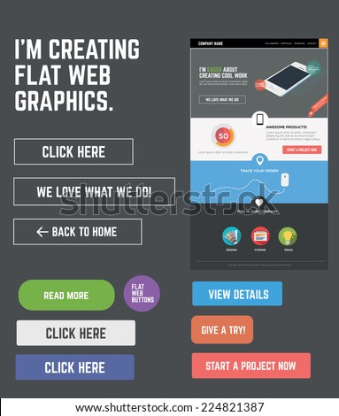 Flat web kit for designing web pages - stock vector
