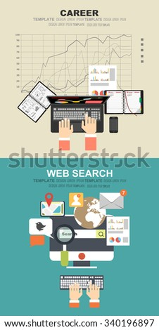 Flat web search background. Internet information and data. Loupe.Concepts for business planning and accounting, analysis, audit, project management, marketing, research in flat design style. - stock vector