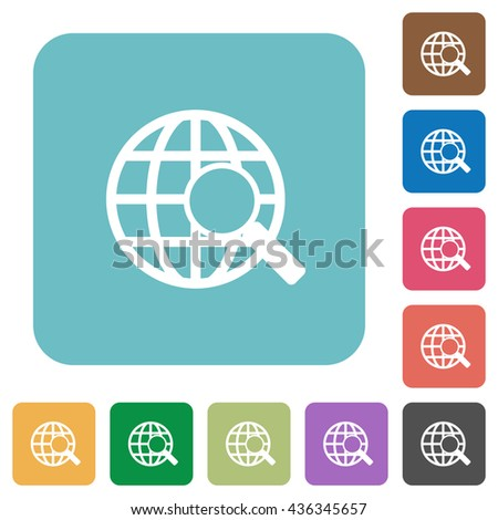 Flat web search icons on rounded square color backgrounds. - stock vector