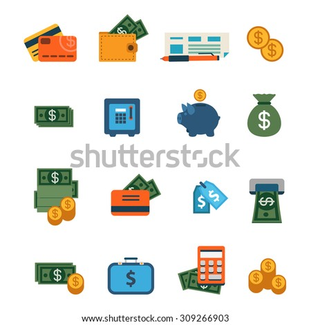 Flat web site interface finance online banking payment transaction infographics icon set. Wallet money dollar banknote coin safe credit card check internet concept icons collection. - stock vector