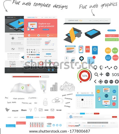 Flat web template design - stock vector