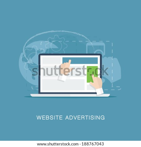 Flat website banner advertising vector illustration concept - stock vector