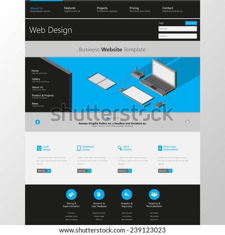 Flat Website Template with low polygon isometric laptop, tablet and office things illustration. vector eps10  - stock vector