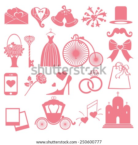Flat wedding  icons ,symbols  for Web and Mobile.Set of  wedding items,pink silhouette.Vintage vector.Holiday infographics - stock vector
