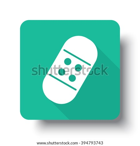 Flat white Adhesive Bandage web icon on green button with drop shadow - stock vector