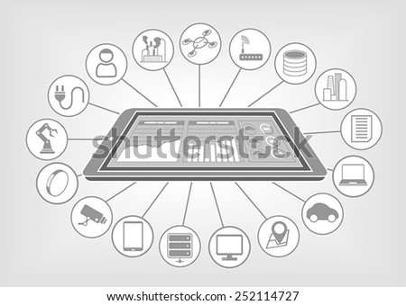 Flat white and grey design vector illustration with smart phone and big data cloud analytics dashboard for internet of things. - stock vector