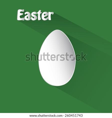 flat white easter egg on green background - stock vector