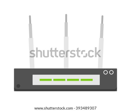 Flat wifi modem router illustration isolated on white. Router detailed flat icon graphic illustration. Flat wi-fi modem 3d technology. Flat wi-fi modem digital design. - stock vector