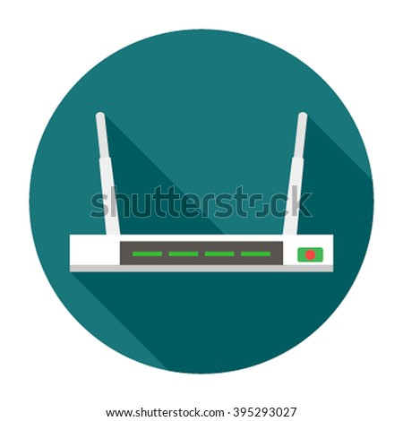 Flat wifi modem router illustration isolated . Router detailed flat icon graphic illustration. Flat wi-fi modem 3d technology. Flat wi-fi modem digital design. - stock vector