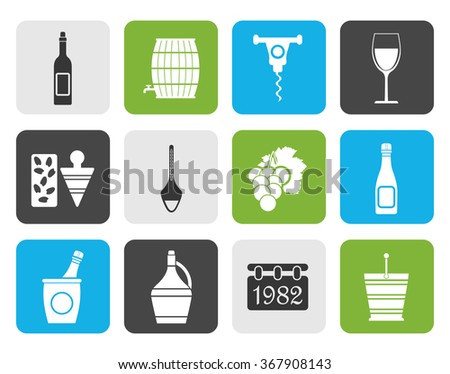 Flat Wine Icons - Vector Icon Set - stock vector