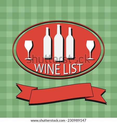 Flat Wine List Menu on striped background fabric. Card Design template logo. Vector illustration poster. EPS10 - stock vector