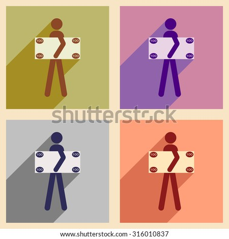 Flat with shadow concept icon People and dollar - stock vector