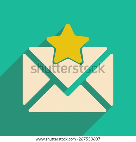 Flat with shadow icon and mobile applacation envelope star - stock vector