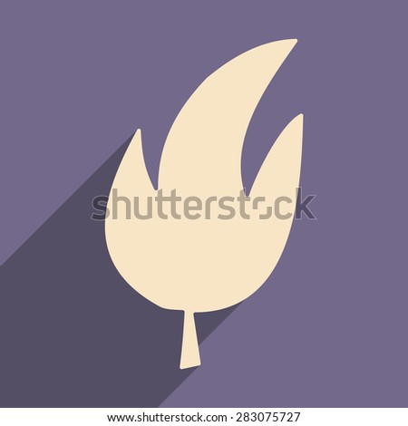 Flat with shadow icon and mobile applacation leaves tree   - stock vector