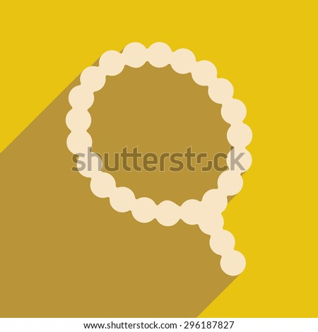 Flat with shadow icon and mobile application rosary - stock vector