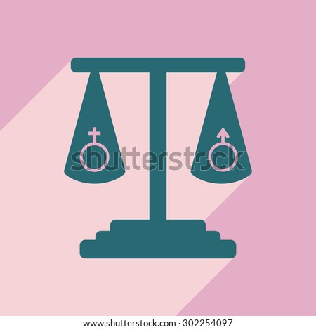 Flat with shadow icon and mobile application sexual equality - stock vector