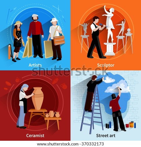 Flat 2x2 images set of artists sculptor ceramist and street art painters vector illustration - stock vector