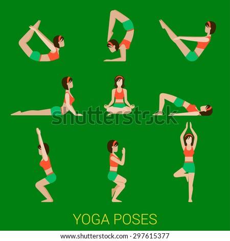 Flat yoga poses stylish modern young sexy girl lady pilates set of figures - stock vector