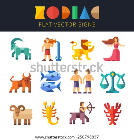 Flat zodiac signs, astrology. Aquarius, Virgo, Scorpio, Taurus, Pisces, Sagittarius, Leo, Libra, Aries, Capricorn, Gemini, Cancer Vector flat illustrations  - stock vector