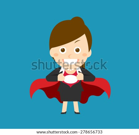 Flatten Vector illustration - Cartoon businesswoman character - stock vector