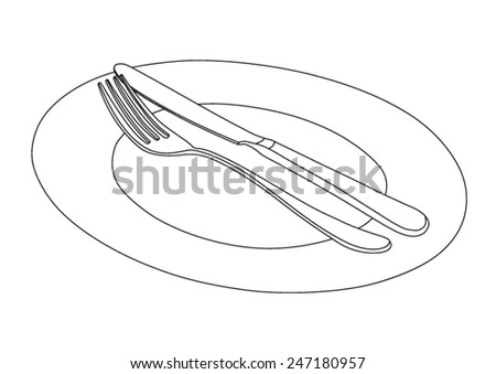 Flatware, cutlery set - fork and knife on plate - black contours, outlines - vector - stock vector