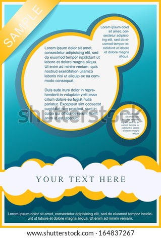 Flayer, brochure or cover template cyan, white and yellow - stock vector