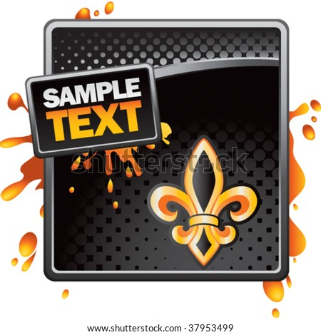 fleur de lis black halftone advertisement - stock vector