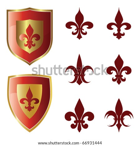 fleur de lis collection vector - stock vector