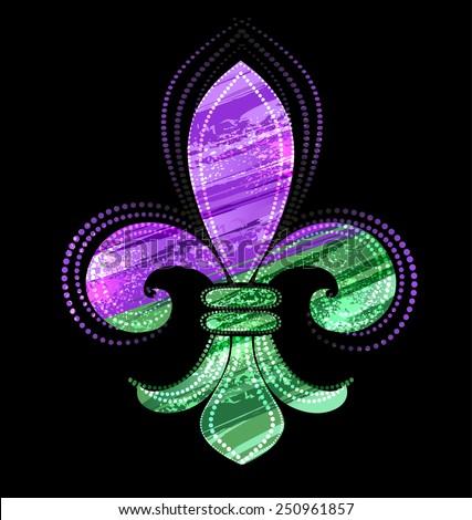 Fleur-de-lis, painted green and purple paint on a black background.  - stock vector