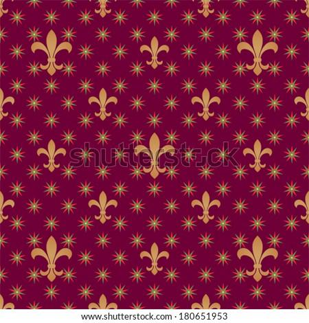Fleur De Lys Seamless Pattern With Stars Vector Vintage