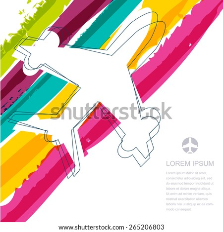 Flight airplane silhouette and rainbow stripes watercolor background with place for text. Concept for travel, summer vacation, transportation company. Abstract vector colorful illustration.  - stock vector