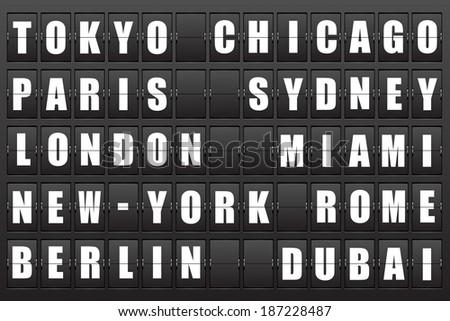 Flight destination, information display board named world cities Tokyo, Chicago, Paris, Sydney, London, New York, Berlin, Dubai, Miami, Roma. Scoreboard airport. Illustration. Vector.  - stock vector
