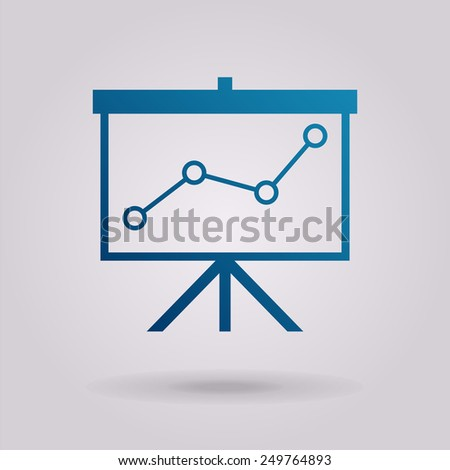 Flip-chart, projection screen with a graph. The illustration on gray background - stock vector