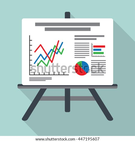 Flip chart, whiteboard screen with marketing data - stock vector