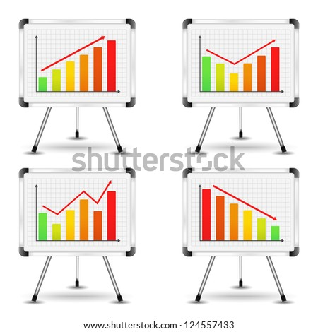 Flip charts with different bar graphs, vector eps10 illustration - stock vector