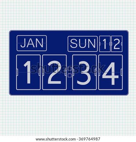 Flip clock.  Icon on Notebook sheet  background. Vector illustration  - stock vector