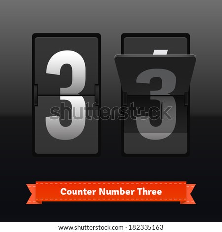 Flip counter template for number three. Highly editable EPS10 interface elements. - stock vector