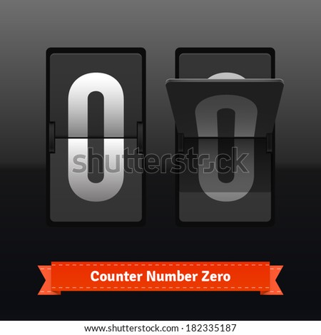 Flip counter template for zero digit. Highly editable EPS10 interface elements. - stock vector