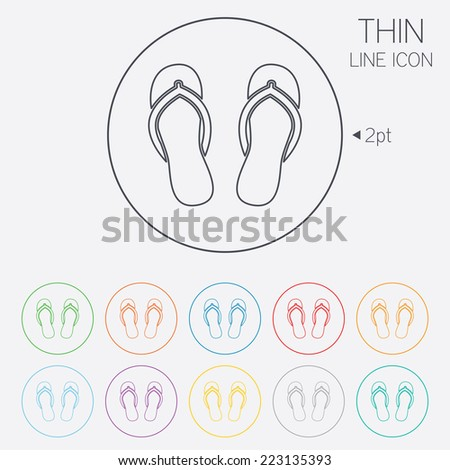 Flip-flops sign icon. Beach shoes. Sand sandals. Thin line circle web icons with outline. Vector - stock vector