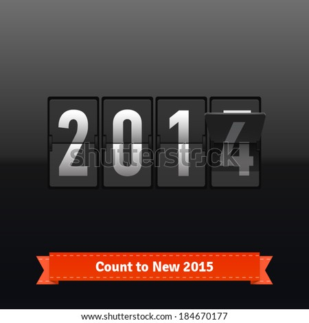 Flip number counter template for 2014-2015 countdown. Highly editable EPS10. - stock vector