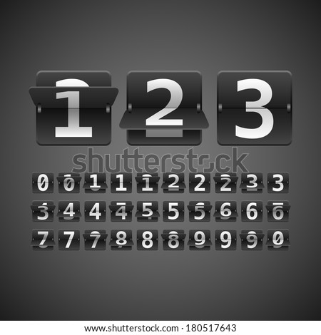 Flip Numbers Set - Vector flip numbers set.  Numbers fit together perfectly.  - stock vector